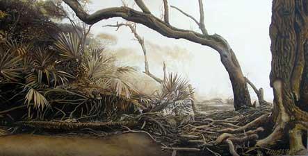 Custom commission - monochromatic landscape