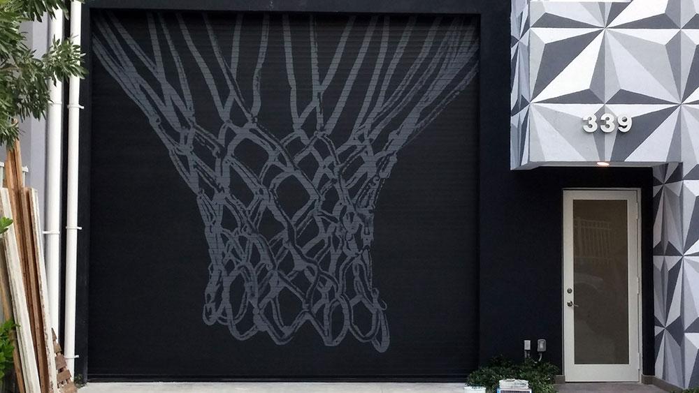 Basketball net on garage door
